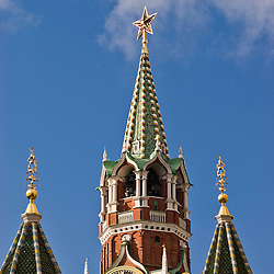 Remains of the communist architecture. Belfry with red star, Red Square, Moscow, Russia