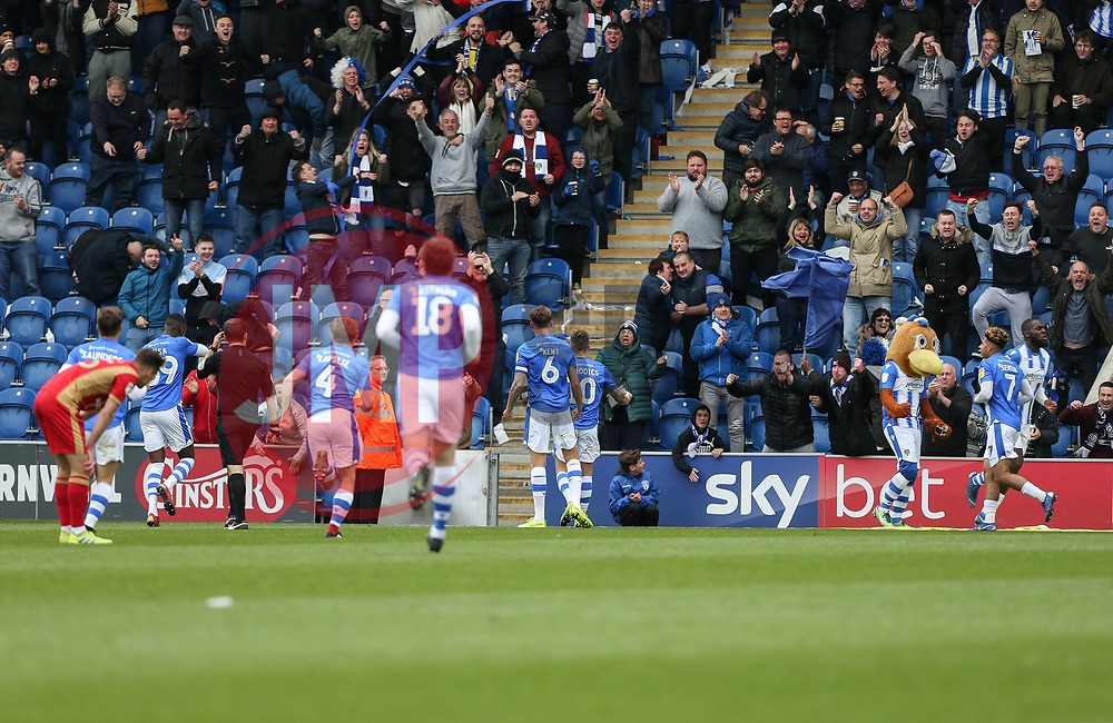 Frankie Kent of Colchester United celebrates scoring to make it 2-0 in front of the fans - Mandatory by-line: Arron Gent/JMP - 27/04/2019 - FOOTBALL - JobServe Community Stadium - Colchester, England - Colchester United v Milton Keynes Dons - Sky Bet League Two