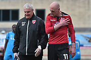Morecambe Midfielder, Kevin Ellison (11) injured during the EFL Sky Bet League 2 match between Morecambe and Barnet at the Globe Arena, Morecambe, England on 28 April 2018. Picture by Mark Pollitt.