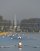 Hazenwinkel, BELGIUM,  Crews paddle down to the morning start of the time Trials, at the GB Rowing Senior Trials, on Sun,15.04.2007  [Credit, Peter Spurrier/Intersport-images]   [Mandatory Credit, Peter Spurier/ Intersport Images]. , Rowing Course, Bloso, Hazewinkel. BELGUIM