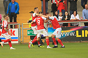 GOAL Ched Evans celebrates scoring 2-1 during the EFL Sky Bet League 1 match between Fleetwood Town and Rochdale at the Highbury Stadium, Fleetwood, England on 18 August 2018.