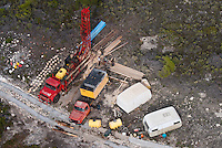 Aerial view of a Borehole drilling rig, De Hoop Nature Reserve, Western Cape, South Africa