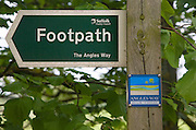 The Angles Way, Suffolk County Council footpath arrow sign, England
