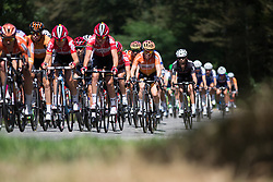 The peloton zooms down on a descent at high speed during the first lap the 121.5 km road race of the UCI Women's World Tour's 2016 Grand Prix Plouay women's road cycling race on August 27, 2016 in Plouay, France. (Photo by Balint Hamvas/Velofocus)