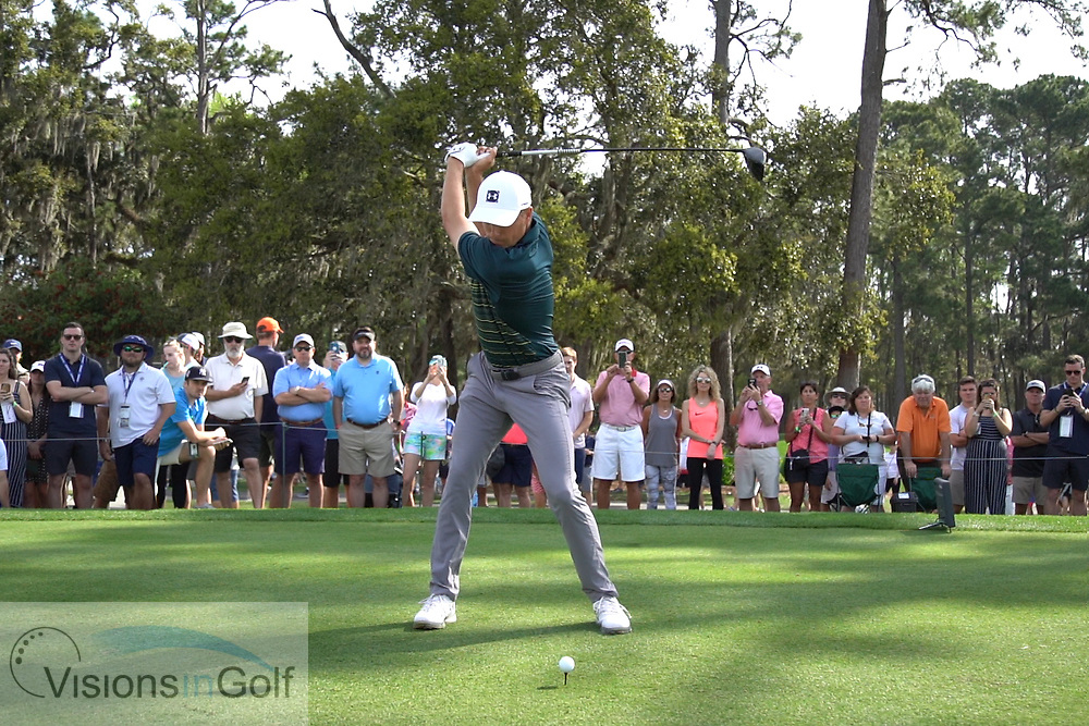 Jordan Spieth<br /> with driver face on<br /> High speed swing sequence<br /> 2019<br /> <br /> Pictures Credit: Mark Newcombe/visionsingolf.com