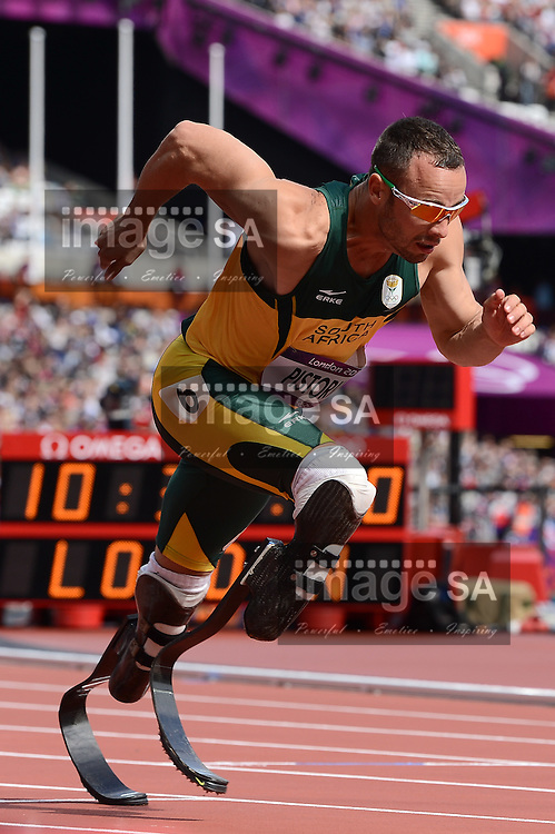 LONDON, ENGLAND - AUGUST 4, Oscar Pistorius of South Africa in the 400m heat at the Olympic Stadium  on August 4, 2012 in London, England.Photo by Roger Sedres / Gallo Images