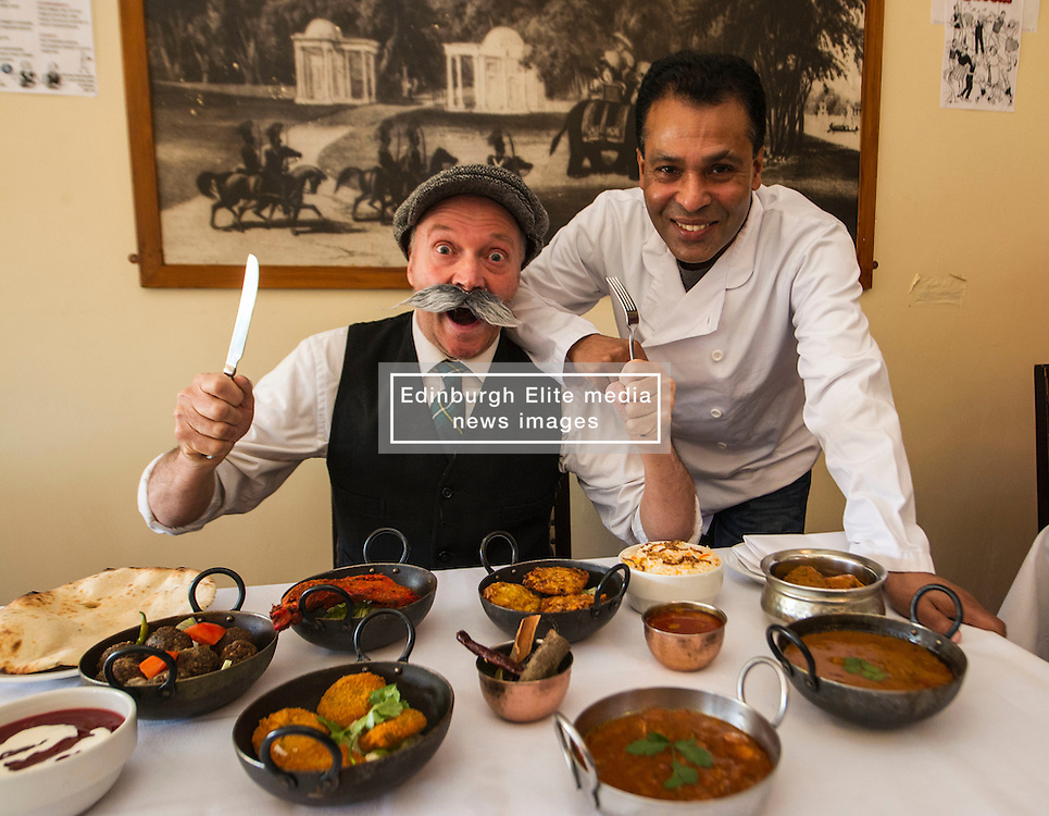 Pictured: Paw Broon can't wait to get stuck into the dishes prepared by owner of the Raj Restaurant Tommy Miah<br /> <br /> Paw Broon, complete with his iconic flat cap and moustache, linked up with Tommy Miah, owner of the Raj Restaurant in Blackhall, Edinburgh, which is holding an evening of entertainment and food, with recipes straight from 'Maw Broon's Cookbook', with an Indian twist. <br /> Ger Harley | EEm 30 January 2017