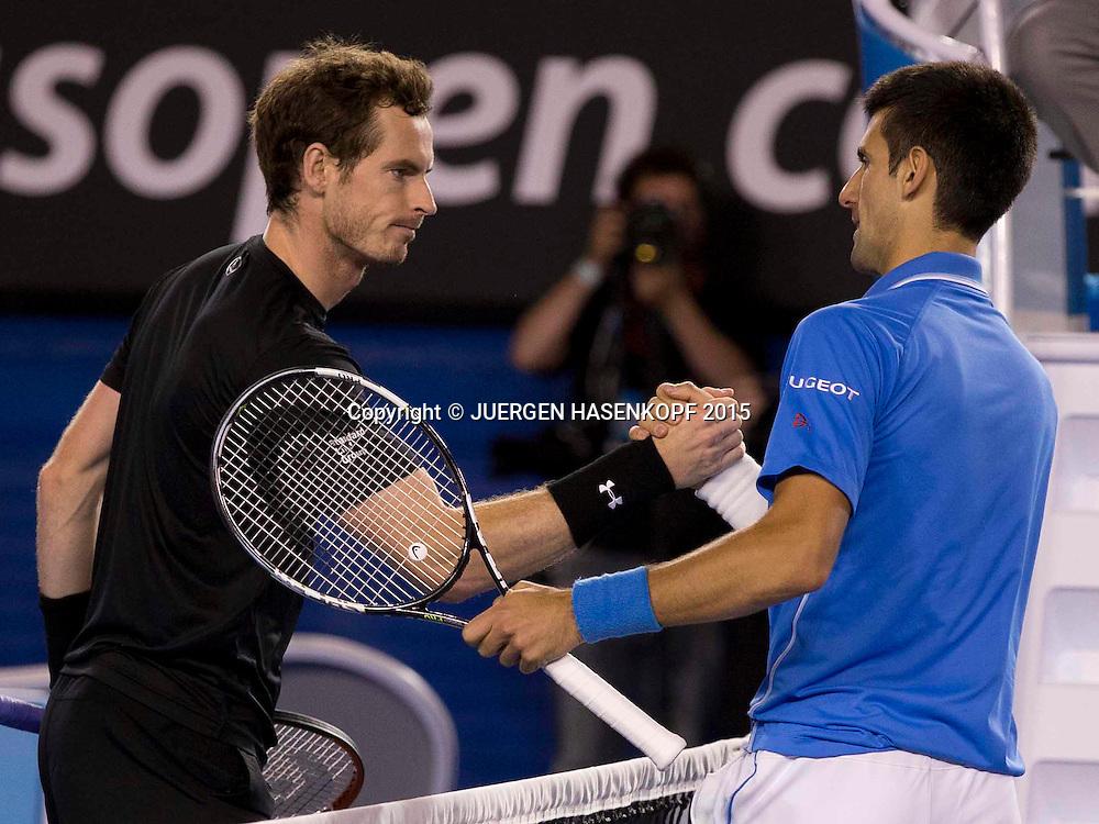Novak Djokovic (SRB) und Andy Murray (GBR)<br /> <br /> Tennis - Australian Open 2015 - Grand Slam ATP / WTA -  Melbourne Olympic Park - Melbourne - Victoria - Australia  - 1 February 2015.