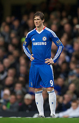 LONDON, ENGLAND - Sunday, February 6, 2011: Chelsea's new signing Fernando Torres makes his debut following his £50m transfer from Liverpool during the Premiership match against his former club at Stamford Bridge. (Photo by David Rawcliffe/Propaganda)