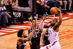 January 22, 2019 - Toronto, Ontario, Canada - Serge Ibaka #9 of the Toronto Raptors dunk over during the Toronto Raptors vs Sacramento Kings  NBA regular season game at Scotiabank Arena on January 22, 2018 in Toronto, Canada (Toronto Raptors win 120-105) (Credit Image: © Anatoliy Cherkasov/NurPhoto via ZUMA Press)