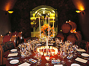 Dining room in the caves of Pine Ridge Winery in Yountville, Napa Valley California.