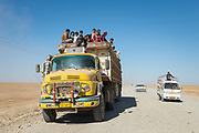 Ba'aj, Iraq - June 4: Civilians flee the town of Ba'aj as Hashd al-Shaabi fighters moved in to liberate the area from ISIS control.