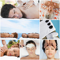 Collage of people receiving spa treatment