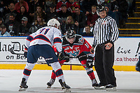 KELOWNA, CANADA - NOVEMBER 26: Rodney Southam #17 of the Kelowna Rockets faces off against Dawson Leedahl #71 of the Regina Pats on November 26, 2016 at Prospera Place in Kelowna, British Columbia, Canada.  (Photo by Marissa Baecker/Shoot the Breeze)  *** Local Caption *** Rodney Southam; Dawson Leedahl;