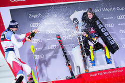 """Second placed ZENHAEUSERN Ramon (SUI) and first placed NOEL Clement (FRA) celebrate after the Audi FIS Alpine Ski World Cup """"Snow Queen Trophy"""" Men's Slalom, on January 5, 2020 in Sljeme, Zagreb, Croatia. Photo by Sinisa Kanizaj / Sportida"""