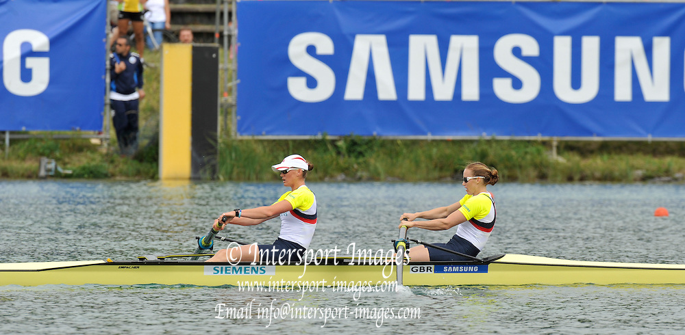 Munich, GERMANY,   GBR W2- Bow, Helen GLOVER and Heather STANNING, Gold Medalist Women's pair.   2012 World Cup III on the Munich Olympic Rowing Course,  Sunday   17/06/2012. [Mandatory Credit Peter Spurrier/ Intersport Images]