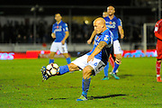 David Pipe (6) of Eastleigh hooks the ball forward during the The FA Cup match between Eastleigh and Swindon Town at Arena Stadium, Eastleigh, United Kingdom on 4 November 2016. Photo by Graham Hunt.