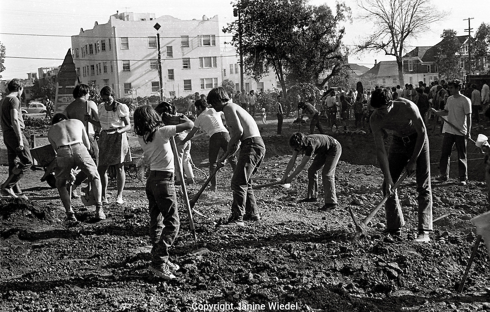 In 1969 Students in Berkeley California took over vacant University  land to create People's Park with gardens and free spaces. This ended in protest & rioting when Governor Ronald Regan ordered the National guard to repossess the land.
