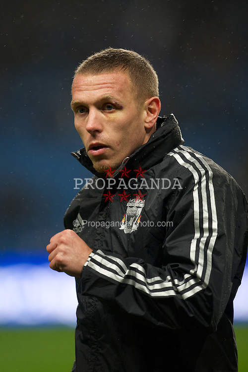 MANCHESTER, ENGLAND - Tuesday, January 3, 2012: Liverpool's Craig Bellamy, with stitches to an eye injury-up before the Premiership match against Manchester City at the City of Manchester Stadium. (Pic by David Rawcliffe/Propaganda)
