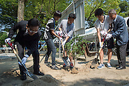 The  Korean consul of Hiroshima plant a tree with some students in memory of the victims