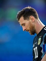 MOSCOW, RUSSIA - Saturday, June 16, 2018: Argentina's Lionel Messi looks dejected during the FIFA World Cup Russia 2018 Group D match between Argentina and Iceland at the Spartak Stadium. Messi missed a penalty and the game finished in a 1-1 draw. (Pic by David Rawcliffe/Propaganda)