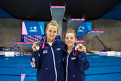 Tonia Couch and Georgia Ward  of Great Britain celebrate with their medals after winning Silver and Bronze respectively in the Womens 10m Platform Final - Mandatory byline: Rogan Thomson/JMP - 13/05/2016 - DIVING - London Aquatics Centre - Stratford, London, England - LEN European Aquatics Championships 2016 Day 5.