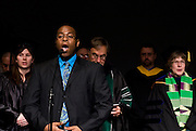 Student Vocalist Michael Ward leads the crowd assembled in singing of the Alma Mater, Ohio during the Founders Day Convocation on Friday, February 15, 2008 in the Baker Ballroom in Athens, Ohio. photo by Kevin Riddell