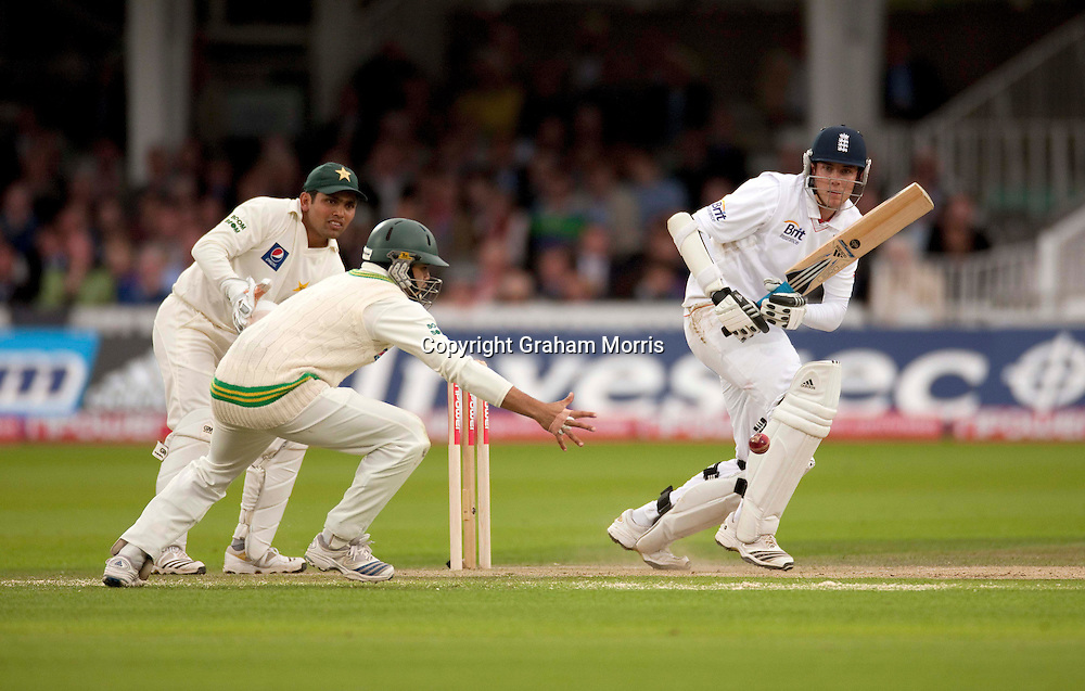 Stuart Broad bats during his maiden Test century in the final npower Test Match between England and Pakistan at Lord's.  Photo: Graham Morris (Tel: +44(0)20 8969 4192 Email: sales@cricketpix.com) 27/08/10