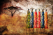 An image depicting a scene in Africa comprised of a photo of a painting from Tanzania, textures and adjustments.