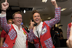 September 11, 2018 - London, London, UK - London, UK.  Olly Murs at the 14th Annual BGC Charity Day held on the trading floor of BGC Partners in Canary Wharf, to raise money for charitable causes in commemoration of BGC's 658 colleagues and the 61 Eurobrokers employees lost on 9/11. (Credit Image: © Vickie Flores/London News Pictures via ZUMA Wire)