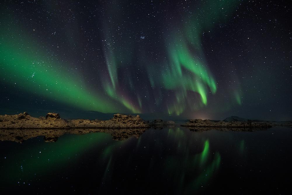 Aurora borealis over Myvatn, Northern Iceland