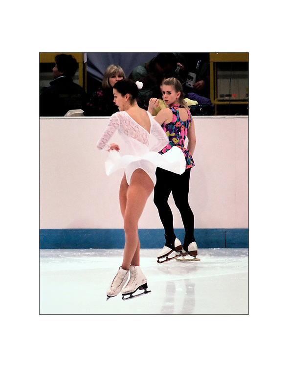 Olympic figure skaters Nancy Kerrigan an Tanya Harding share the ice for the first time in Lillehammer, Norway following an attack on Kerrigan in Detroit  a few weeks earlier. Ed Hille
