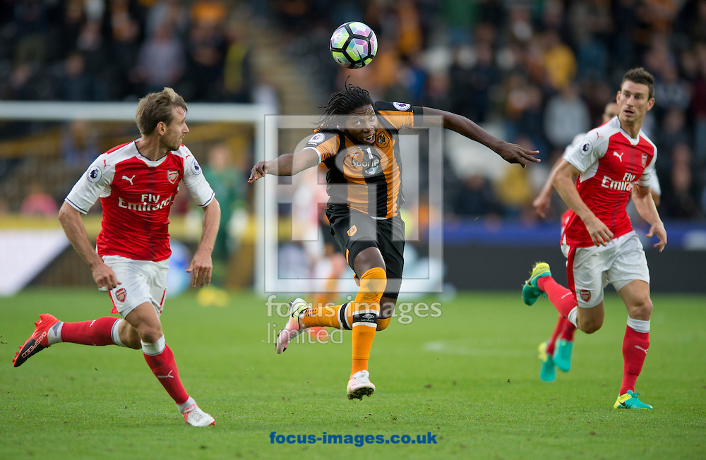 Dieumerci Mbokani of Hull City brings the ball under control during the Premier League match at the KCOM Stadium, Hull<br /> Picture by Russell Hart/Focus Images Ltd 07791 688 420<br /> 17/09/2016