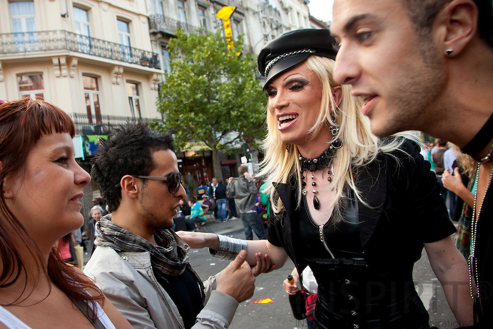 The 16th annual Gay Pride march was held in Brussels on Saturday 14 May 2011. The event is organised by groups defending the rights of gays, lesbians, bisexuals and transgender people. Police say that 45,000 people took part in the event. Photo: Erik Luntang / INSPIRIT Photo