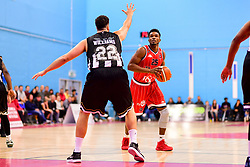 Marcus Delpeche of Bristol Flyers is marked by Jamal Williams of Newcastle Eagles - Photo mandatory by-line: Ryan Hiscott/JMP - 03/11/2018 - BASKETBALL - SGS Wise Arena - Bristol, England - Bristol Flyers v Newcastle Eagles - British Basketball League Championship