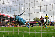 Tim Krul (1) of Norwich City dives to cover the net from a Bournemouth shot at goal during the Premier League match between Bournemouth and Norwich City at the Vitality Stadium, Bournemouth, England on 19 October 2019.