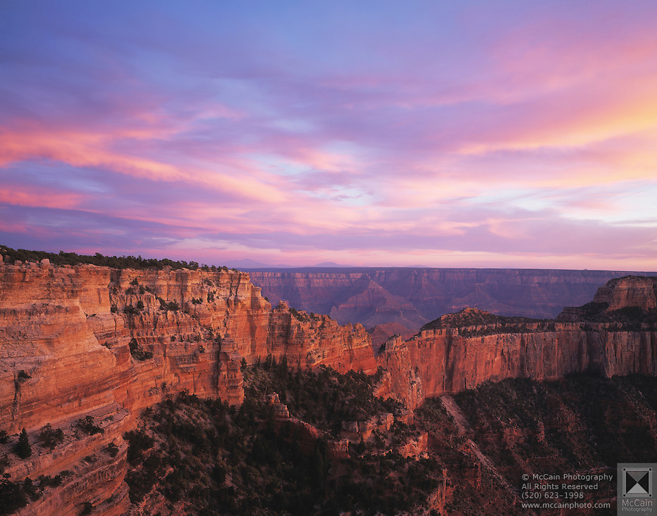 Sunset clouds & Cape Royal, view South, North Rim, Grand Canyon National Park, Arizona..Subject photograph(s) are copyright Edward McCain. All rights are reserved except those specifically granted by Edward McCain in writing prior to publication...McCain Photography.211 S 4th Avenue.Tucson, AZ 85701-2103.(520) 623-1998.mobile: (520) 990-0999.fax: (520) 623-1190.http://www.mccainphoto.com.edward@mccainphoto.com