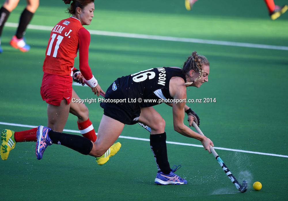 Liz Thompson. International Womens Hockey. New Zealand Black Sticks v Korea. Auckland. New Zealand. Friday 28 March 2014. Photo: Andrew Cornaga / www.photosport.co.nz
