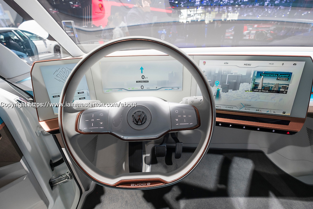 Detail of electronic dashboard of Volkswagen, VW Budd.E electric concept minivan  at Paris Motor Show 2016