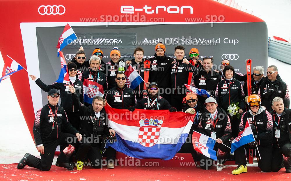 Team of Croatia after the trophy ceremony after the Audi FIS Alpine Ski World Cup Men's Slalom 58th Vitranc Cup 2019 on March 10, 2019 in Podkoren, Kranjska Gora, Slovenia. Photo by Matic Ritonja / Sportida