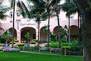 A view of the sculptured lawn at the Royal Hawaiian Hotel in Waikiki.