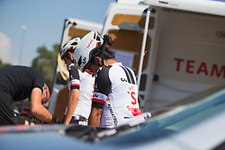 Coryn Rivera (USA) of Team Sunweb prepares for Stage 1 of the Madrid Challenge - a 12.6 km team time trial, starting and finishing in Boadille del Monte on September 15, 2018, in Madrid, Spain. (Photo by Balint Hamvas/Velofocus.com)