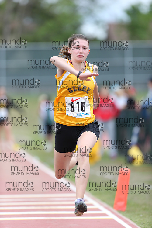 Arden McAlpin of Glebe CI - Ottawa competes in the midget girls triple jump at the 2013 OFSAA Track and Field Championship in Oshawa Ontario, Thursday,  June 6, 2013.<br /> Mundo Sport Images / Sean Burges