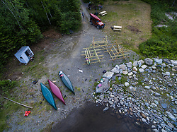 An aerial view of the boat launch area on Second Roach Pond near the Appalachian Mountain Club's Medawisla Lodge in the Maine Woods near Greenville.