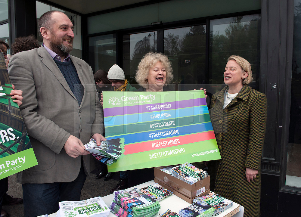 © Licensed to London News Pictures.  06/05/2015. Bristol, UK.  Picture of Natalie Bennett (right), leader of the Green Party campaigning in the Bristol West seat.  Author and Food Poverty Campaigner, Jack Monroe, came to Bristol West to support Green Party PPC Darren Hall in one of the Green Party's key target constituencies. Monroe met Hall alongside Green Party Leader, Natalie Bennett.  Photo credit : Simon Chapman/LNP