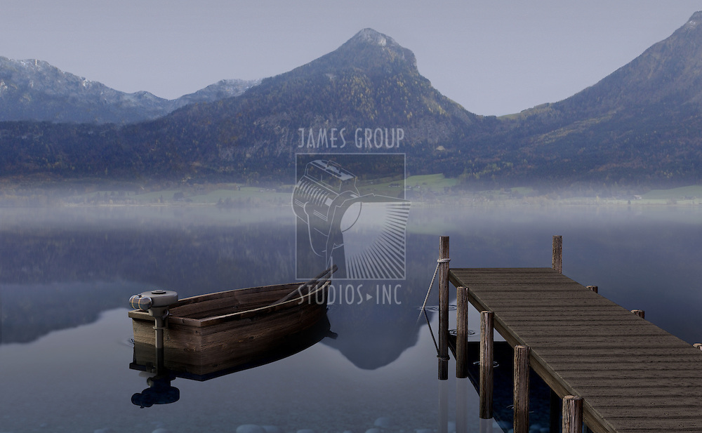 Boat on a placid lake