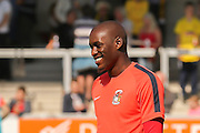Coventry new signing Coventry City forward Marc-Antoine Fortune warming up during the Sky Bet League 1 match between Burton Albion and Coventry City at the Pirelli Stadium, Burton upon Trent, England on 6 September 2015. Photo by Simon Davies.