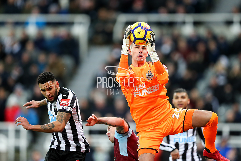 Karl Darlow (#26) of Newcastle United comes out to claim a cross during the Premier League match between Newcastle United and Burnley at St. James's Park, Newcastle, England on 31 January 2018. Photo by Craig Doyle.