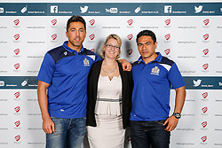Gavin Henson and David Lemi of Bristol Rugby pose during the Player Sponsors' Dinner in the Heineken Lounge at Ashton Gate - Mandatory byline: Rogan Thomson/JMP - 08/02/2016 - RUGBY UNION - Ashton Gate Stadium - Bristol, England - Bristol Rugby Player Sponsors' Dinner.