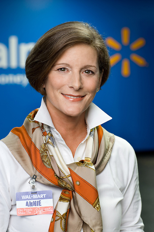 Executive portrait of Annie de Vona at Walmart corporate for Walmart World Advertising campaign by Michel Leroy PHOTOGRAPHER for WalmartOne